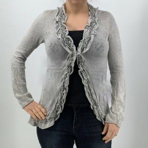Anthropologie Guinevere Gray Cardigan with ruffles